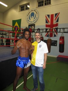 In the gym - this guy does muay thai and capoeira
