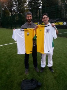 Me & Colin with my newly made England/Brazil shirts (thanks to Newman Pearce Tailoring!)