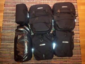 Packed pannier bags