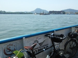 Luis on the ferry to Guaruja