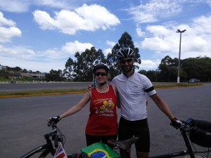 With Daniela. The third day in a row that my kind host cycled with me to the highway!