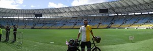 Posing for photos after I'd cycled around the pitch!