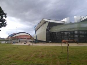 Stadium (right) and gymnasium (left)