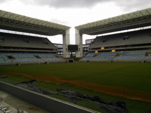 There'll be landscaped banks in the corners between the stands