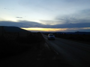 Sunset back along the road where I came from