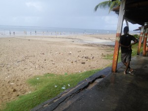 Local s playing beach footy, despite the rain, spectators retreated to the kiosk