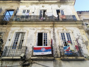 Local footy fan's home - Bahia won the state championship on Sunday vs fierce city rivals Vitoria