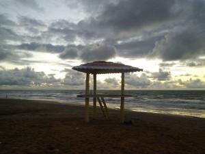 Lifeguard tower at dawn