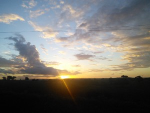 Sunset yesterday seen from the road a few km from Propria