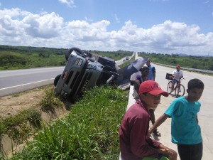 The locals seemed more bemused by the gringo on a touring bike than this crashed lorry