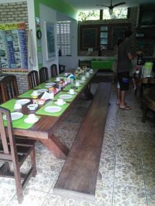 Hostel set up for breakfast