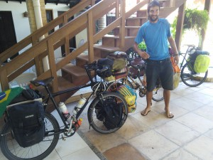 Pedro's bike dwarfed ours due to all his luggage - proper heavy!