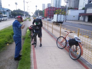 This guy fell off his bike, so Martin admistered some basic first-aid