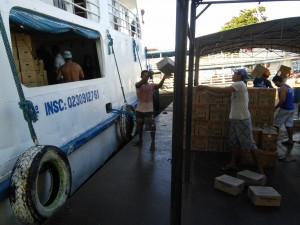 The crew unloading cargo at one of our stops