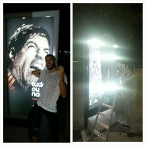 Got my photo with the famous Suarez poster, but then Adidas had it removed at 3am!