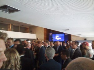 HRH in the throng of suits before the Ambassador brought him over to meet the charity crew