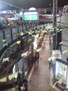 Watching a game at the Central Market where...