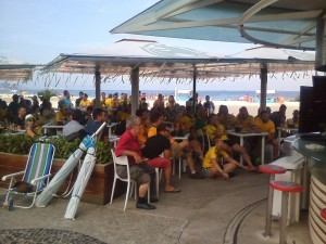 Crowd watching the Brazil game at the Bacardi beach bar